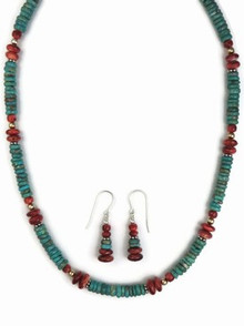 Turquoise & Spiny Oyster Shell Necklace & Earring Set