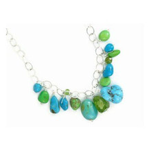 Turquoise, Gaspeite & Peridot Beaded Charm Necklace - Adjustable Length