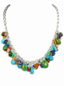 Turquoise & Gemstone Beaded Charm Necklace - Adjustable Length (NK2675)