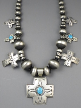 Kingman Turquoise Silver Bead Cross Necklace by Ronnie Willie
