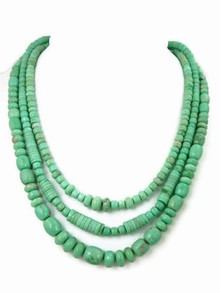 Graduated Three Strand Variscite Bead Necklace - Adjustable Length