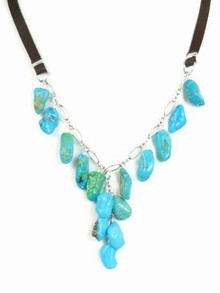 Turquoise & Leather Beaded Necklace - Adjustable Length
