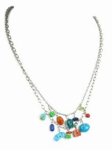 Sterling Silver Gemstone Bead Necklace - Adjustable Length