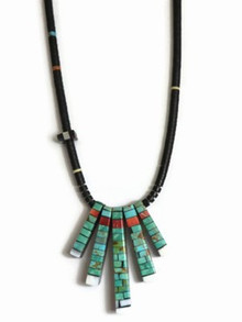 Reversible Turquoise, Jet & Gemstone Mosaic Inlay Necklace by Charlene & Frank Reano, San Felipe / Santo Domingo (NK2689)