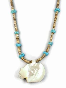 Mother of Pearl Zuni Fetish Bear Necklace by Burt Othole