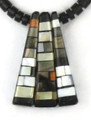 Reversible Turquoise, Jet & Gemstone Mosaic Inlay Necklace by Charlene & Frank Reano, San Felipe / Santo Domingo (NK2691)