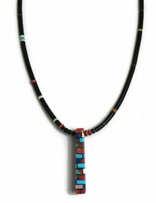 Reversible Turquoise, Jet & Gemstone Mosaic Inlay Necklace by Charlene & Frank Reano, San Felipe / Santo Domingo (NK2692)