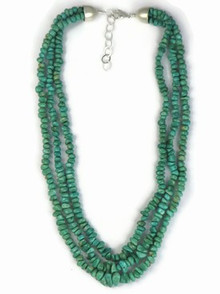 Three Strand Graduated Turquoise Necklace - Adjustable Length