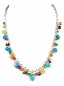 Turquoise & Gemstone Beaded Charm Necklace - Adjustable Length (NK2780)