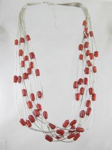 10 Strand Liquid Silver & Coral Necklace - Adjustable Length