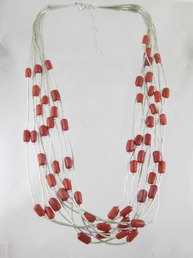 10 Strand Liquid Silver & Coral Necklace - Adjustable Length