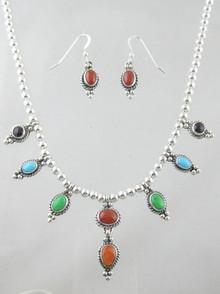 Sterling Silver Multi Gemstone Necklace & Earring Set