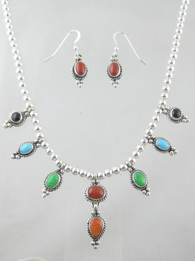 Sterling Silver Multi Gemstone Necklace & Earring Set