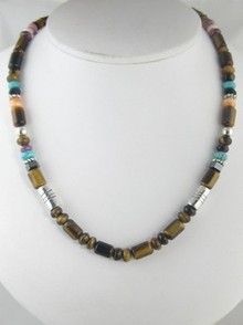 "Tommy Singer Tiger Eye & Gemstone Beaded Necklace 16"""