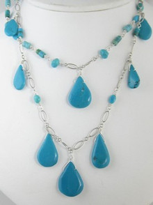 Sterling Silver Turquoise Tab Necklace (NK3083)