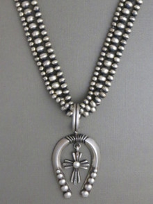 Naja Cross Silver Bead Necklace by Calvin Martinez, Navajo