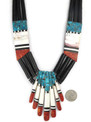Mosaic Inlay Jet Heishi Ceremonial Necklace by Santo Domingo, Torevia Crespin