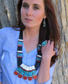 Mosaic Inlay Jet Heishi Large Reversible Ceremonial Necklace by Santo Domingo Artist, Torevia Crespin