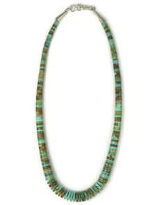 "Turquoise Heishi Necklace 16 1/2"" by Ronald Chavez, Santo Domingo Jewelry"