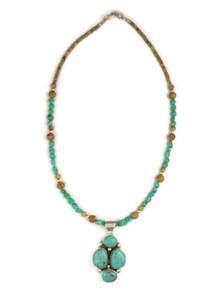 Sterling Silver Manassa Turquoise & Jasper Necklace