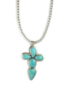 Sterling Silver Manassa Turquoise Cross Necklace by Jake Sampson, Navajo