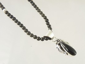Sterling Silver Onyx Necklace by Southwest Artist Les Baker (NK3402)
