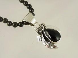 Sterling Silver Onyx Necklace by Southwest Artist Les Baker (NK3403)