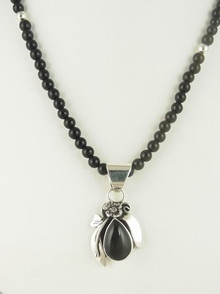Sterling Silver Onyx Necklace by Southwest Artist Les Baker (NK3403)