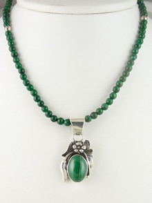 Sterling Silver Malachite Necklace by Southwest Artist Les Baker