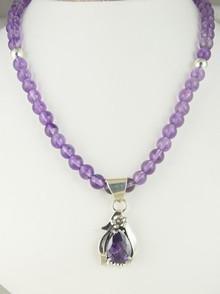 Sterling Silver Amethyst Necklace by Southwest Artist Les Baker (NK3412)