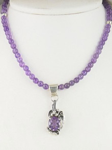 Sterling Silver Amethyst Necklace by Southwest Artist Les Baker (NK3414)