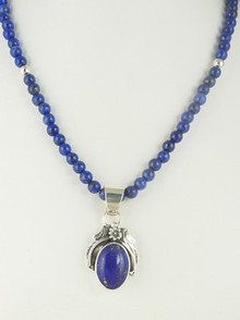 Sterling Silver Lapis Bead Necklace by Southwest Artist Les Baker