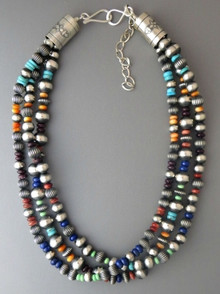 "Three Strand Silver Bead Necklace 18"" with Gemstones by Geneva Apachito"