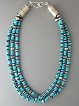 "Three Strand Turquoise Silver Bead Necklace 18"" by Geneva Apachito"