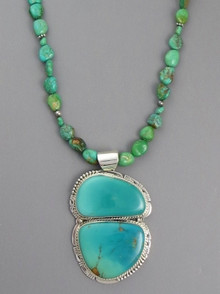 Large Manassa Turquoise Pendant Necklace
