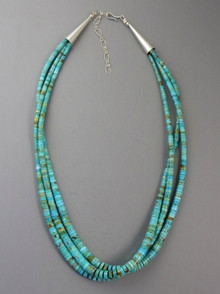 Three Strand Turquoise Heishi Necklace by Daniel Coriz, Santo Domingo
