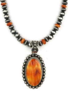 Orange Spiny Oyster Shell Pendant Necklace by Happy Piaso