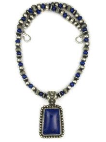 Silver Lapis Pendant Bead Necklace by Happy Piaso