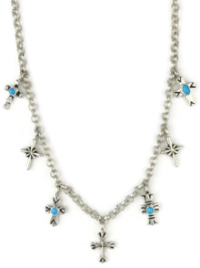 Silver Turquoise Cross Charm Necklace
