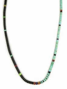 "Jet & Turquoise Heishi Necklace 17 1/2"" by Ronald Chavez, Santo Domingo"