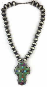 Turquoise & Gemstone Inlay Cross Necklace by Mike Thompson, Navajo
