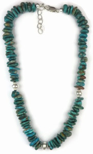 Sterling Silver Fox Turquoise Nugget Necklace - Adjustable Length (NK3727-S)