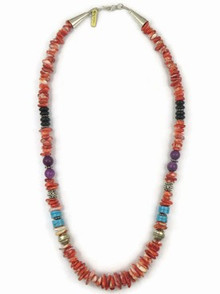"Sterling Silver Spiny Oyster Shell & Gemstone Bead Necklace 16"" by Thomas Singer, Navajo Indian Jewelry"