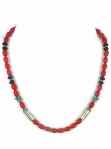 Sterling Silver Coral & Gemstone Bead Necklace by Tommy Singer, Navajo jewelry