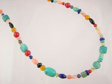 Turquoise & Gemstone Beaded Necklace