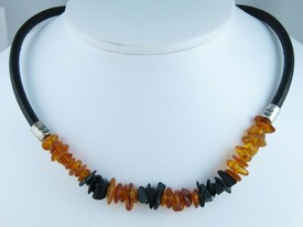 Onyx, Amber & Leather Necklace