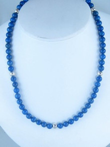 Sterling Silver Lapis Bead Necklace