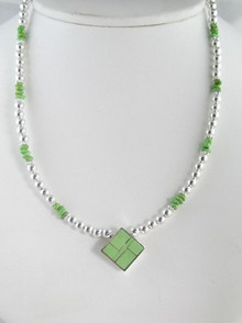 Sterling Silver Gaspeite Inlay Bead Necklace & Earring Set
