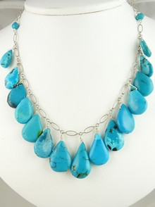 Sterling Silver Turquoise Tab Necklace (NK4212)