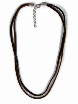 Leather Necklace with Chain Extender - Double Strand Brown & Dark Brown